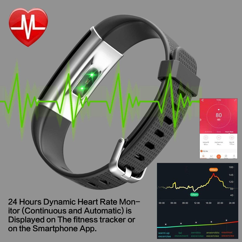 iPosible Pulsera Actividad, Impermeable IP68 Reloj Inteligente Color Pantalla Pulsera Inteligente Pulsómetro Pulsera Podómetro, Monitor de Sueño SMS ...