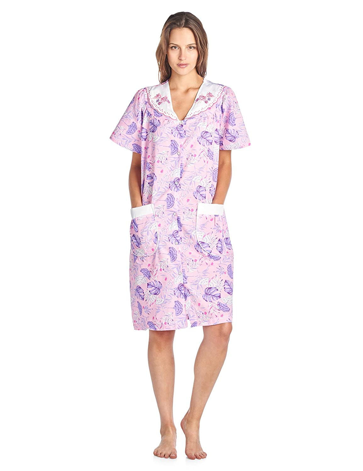 Casual Nights Women's Woven Snap-Front Lounger House Dress Short Sleeve Day Dress