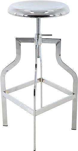 Brage Living Height Adjustable Round Seat Top Metal Barstool