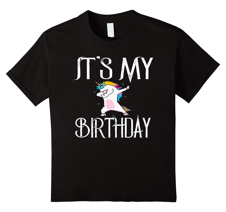 Dabbing Birthday Unicorn T Shirt Black-Awarplus