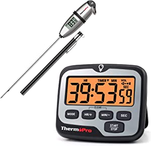 ThermoPro TP-02S Instant Read Meat Thermometer + ThermoPro TM01 Digital Kitchen Timer with Touchable Backlit