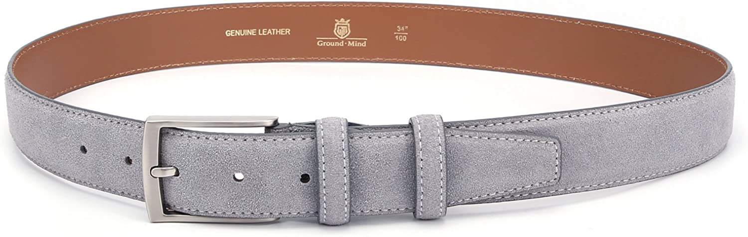 """Ground Mind Men/'s Dress Belt Suede Leather Grey 34 Durable 1-3//8/"""" Extra Thick"""