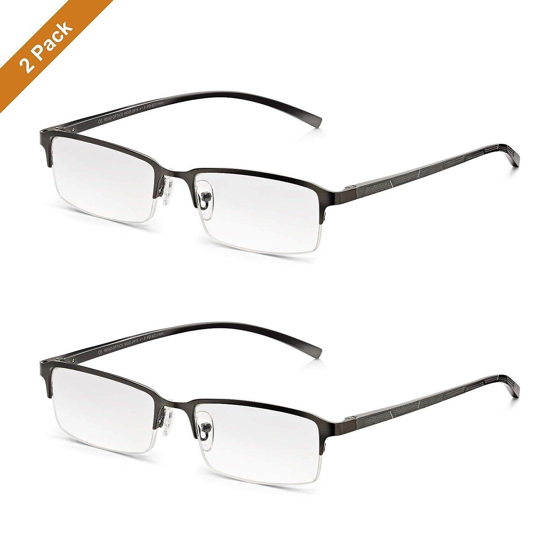 Read Optics x2 PACK de Gafas de Lectura Presbicia Hombre +1,5 (o +1 a +3,5). Lentes Rectangulares Antireflejos y Rasguño Resistentes. Medio Marco, ...