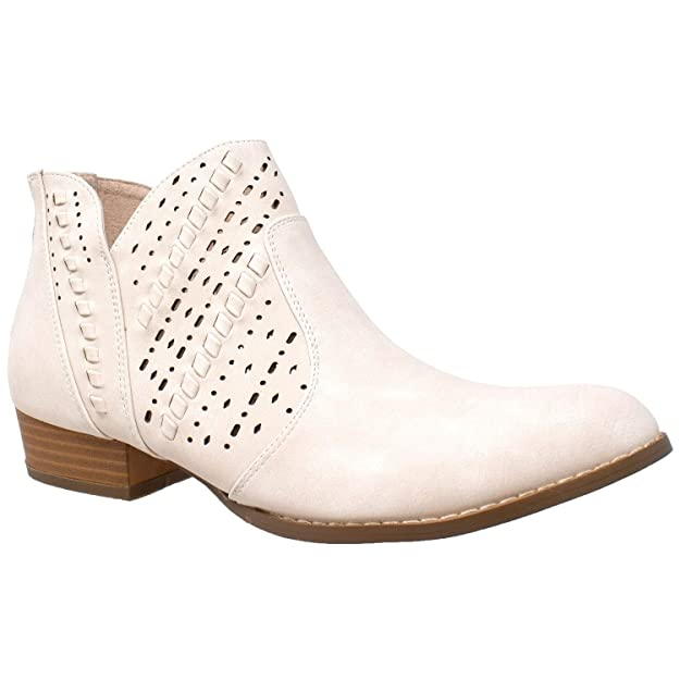 SOBEYO Womens Ankle Boots Western Block Heel Bootie Perforated Cutout Shoes Beige SZ 5