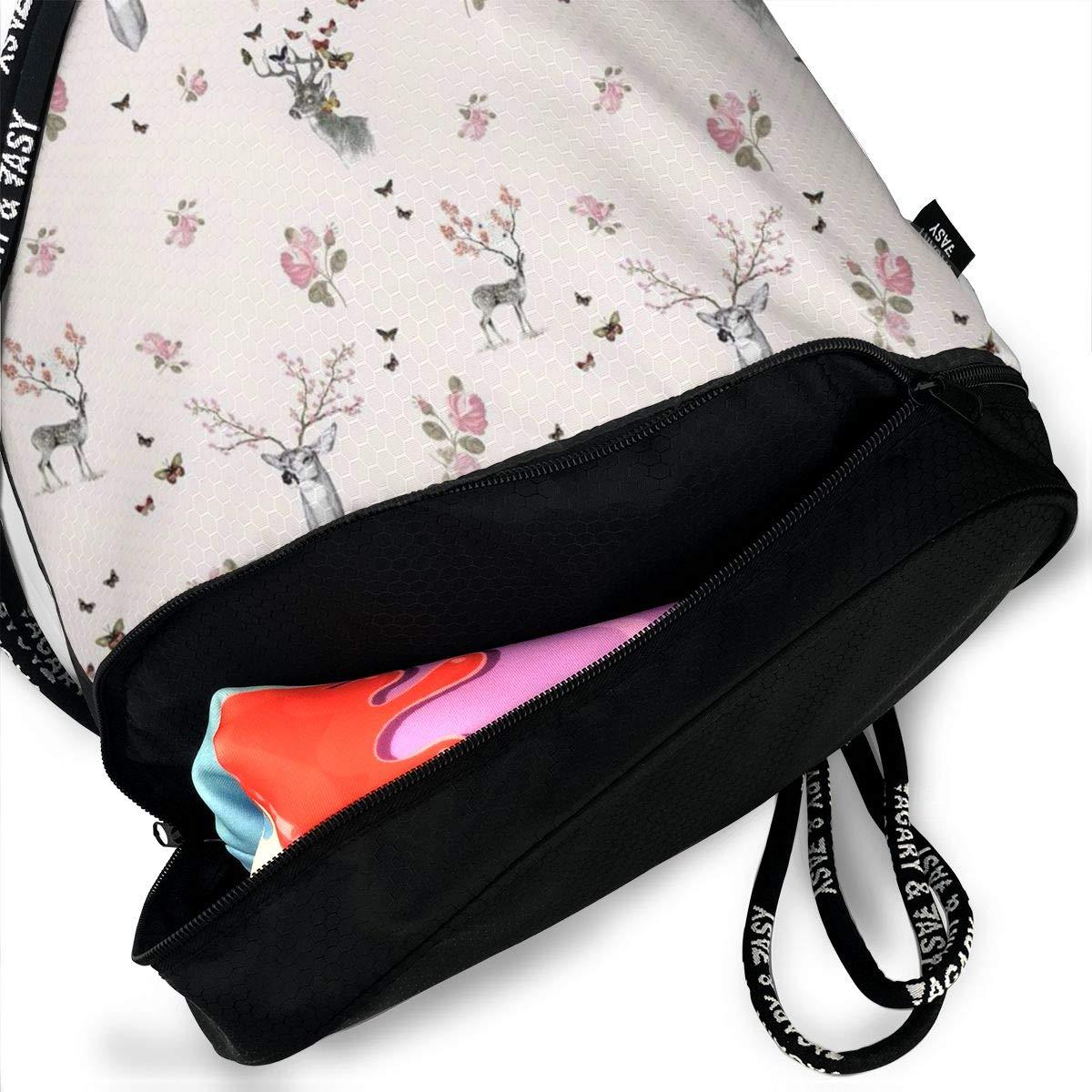 HUOPR5Q Deer Drawstring Backpack Sport Gym Sack Shoulder Bulk Bag Dance Bag for School Travel