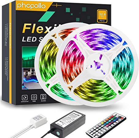 Phopollo Led Strip Lights 32 8ft Rgb Color Changing 5050 300leds Waterproof Flexible Led Tape Light Kit With 44 Key Ir Remote Controller And 12v