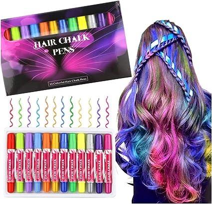 Buluri 12 colores Set de tiza para el cabello,Tinte para el cabello plumas de tiza profesionales para el cabello, plumas de tinte para el cabello ...