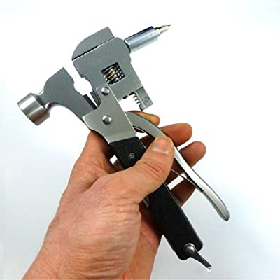 ZGBZZ Pince à tuyau multifonctions en acier inoxydable, marteau de sûreté, pince à molette réglable, pince à tuyau mixte, marteau de sauvetage, couteau multifonctions, pince multiusage