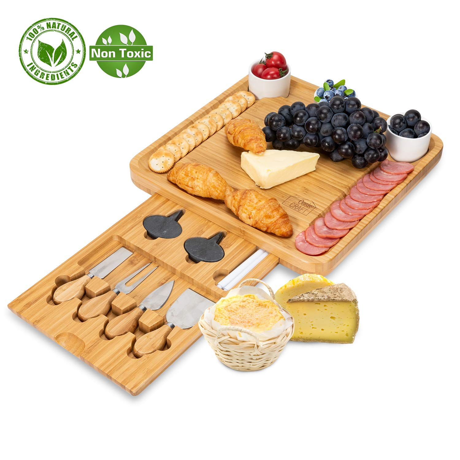 Bamboo Cheese Board with Cutlery Set-Charcuterie Cheese Plate Include 3 Ceramic Bowls with Marker Set by OasisCraft (Cheese Board) by OasisCraft