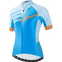 JPOJPO Women Cycling Jersey Short Sleeve Bike Shirt Tops with 4 Pockets Reflective S-3XL