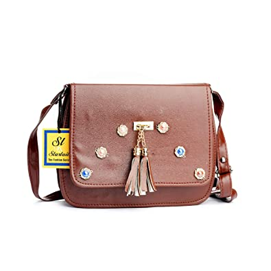 32b5727d7315 STARTAIL WOMEN S BROWN HANDBAG SLING BAG WITH ADJUSTABLE STARPFOR LADIES  AND GIRLS.  Amazon.in  Shoes   Handbags