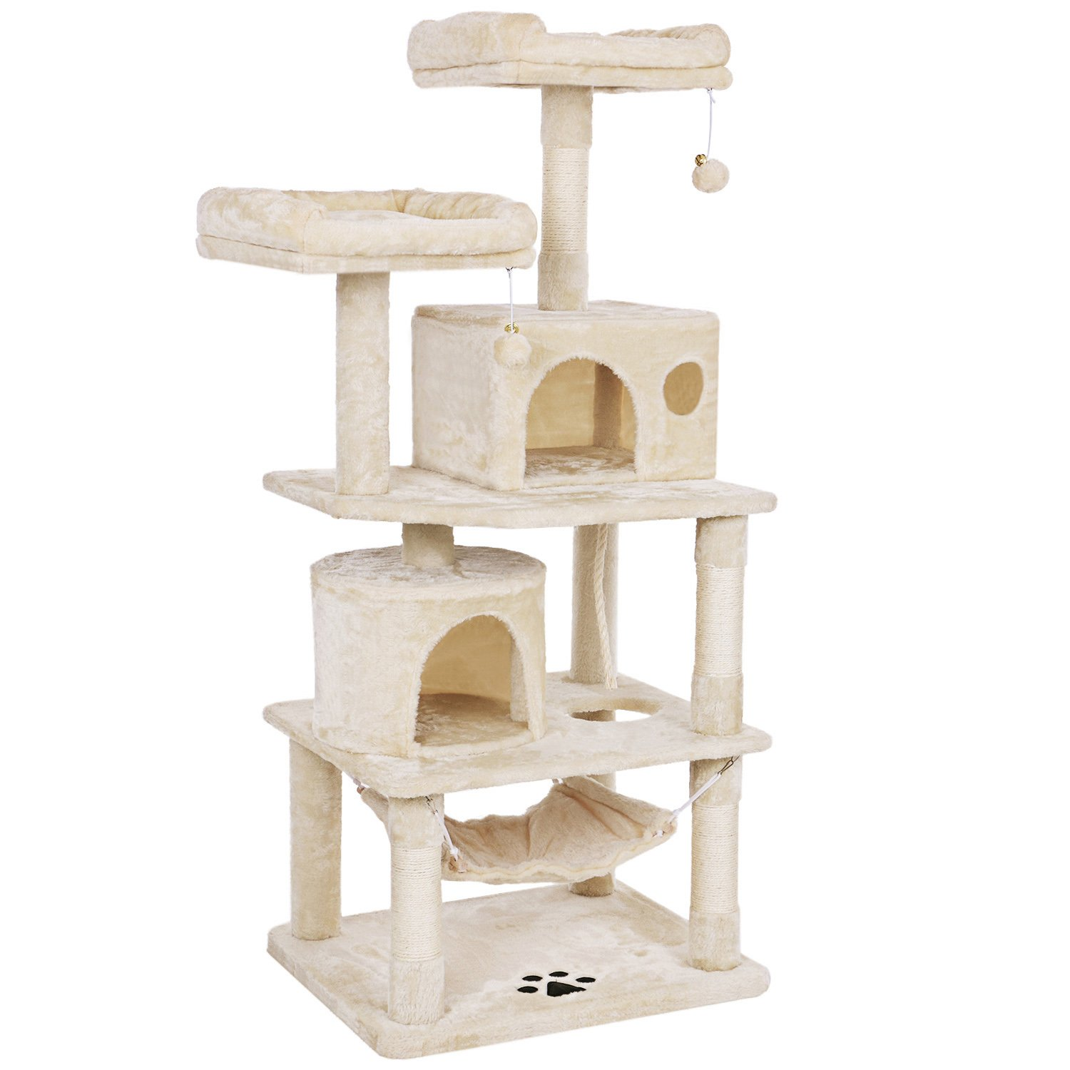 BEWISHOME Cat Tree Condo Furniture Kitten Activity Tower Pet Kitty Play House with Scratching Posts Perches Hammock Beige 57'' MMJ01M