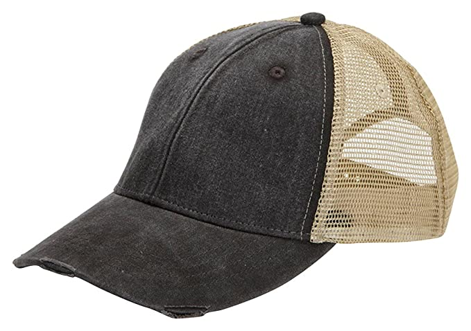 130ef9365 Amazon.com: Adams mens 6-Panel Pigment-Dyed Distressed Trucker Cap ...