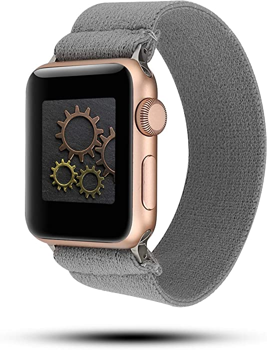 YOSWAN Stretchy Loop Strap Compatible for Apple Watch Band 40mm 38mm 44mm 42mm iWatch Series 6/5/4/3/2/1 Stretch Elastics Wristbelt (Nylon Gray, 42mm/44mm)