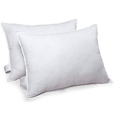 White Classic Down-Alternative Soft Bed Pillows Sleeping - 100% Cotton Pillow Cover - Hypoallergenic Dust Mite Resistant - No Flattening - King Size - 2-Pack