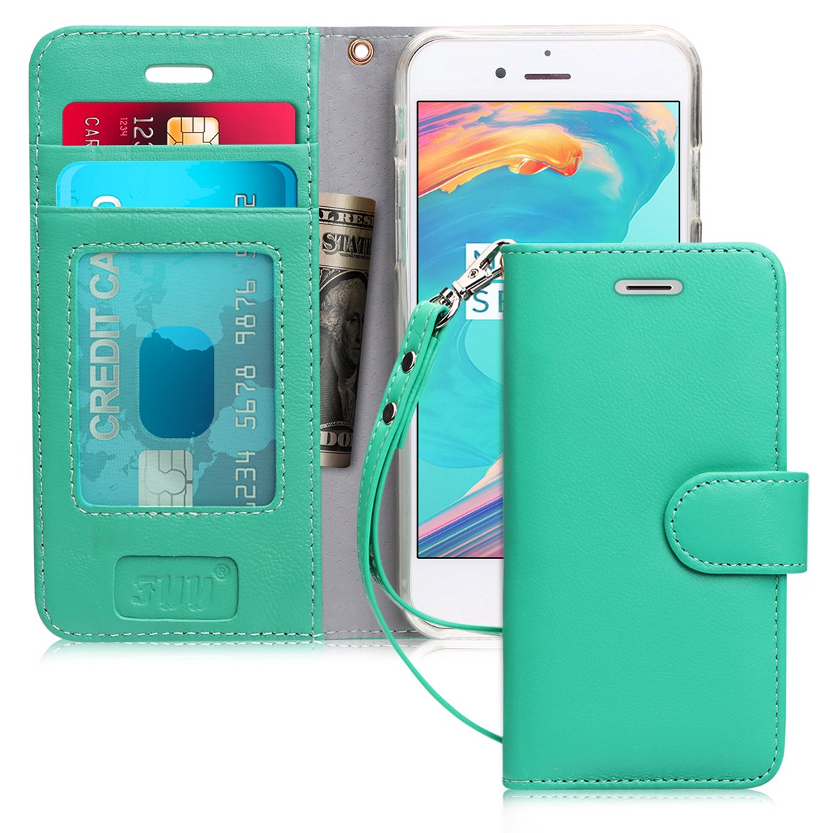 FYY Case for iPhone 7/iPhone 8, [Kickstand Feature] Flip Folio Genuine Leather Wallet Case with ID and Credit Card Pockets for Apple iPhone 8/7 (4.7'') Mint Green