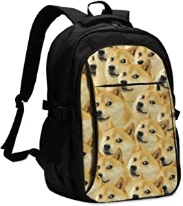 Mr Doge Meme Printed Laptop Backpack Bookbags Travel School Bag With Usb Charging Port Fits 13-16 Inch Laptop