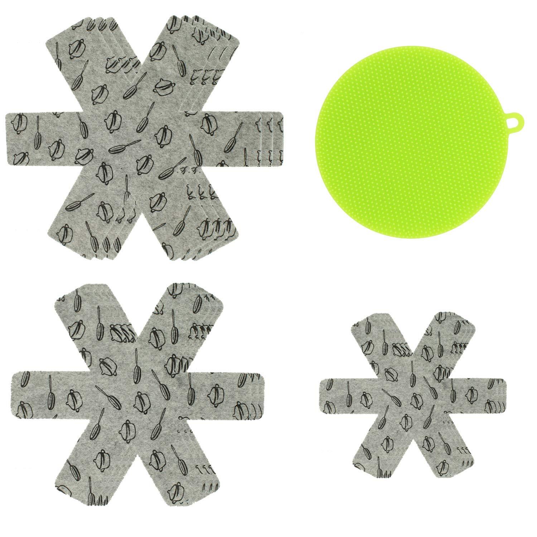 "9PCS 3 Size Pot & Pan Divider Protector Pad with a Silicone Sponge, TIMGOU 15""/14""/10"" Gray Print Premium Prevent Scratching Mat Pot Organizer"