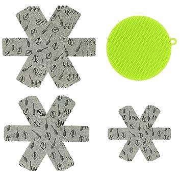 9 protectores de ollas y sartenes de 3 tamaños con una esponja de silicona para fregadero