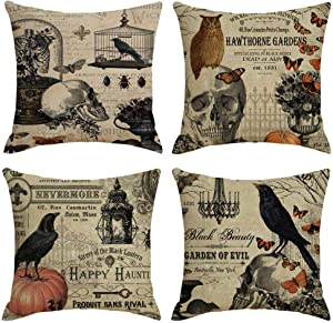 PSDWETS Happly Halloween Decorations Crow Skull and Pumpkin Pillow Covers Set of 4 Home Decor Cotton Linen Throw Pillow Covers Cushion Cover 18 X 18