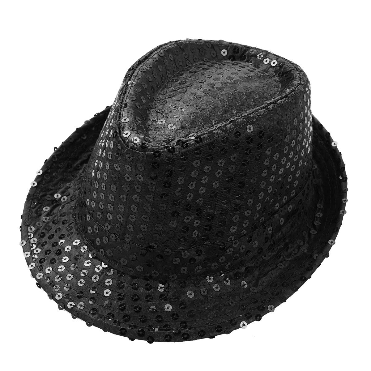 Freebily Unisex Boys Girls Sequin Fedora Hat Kid Dance Cap Solid Jazz Hat Party Glitter Costumes Black One Size