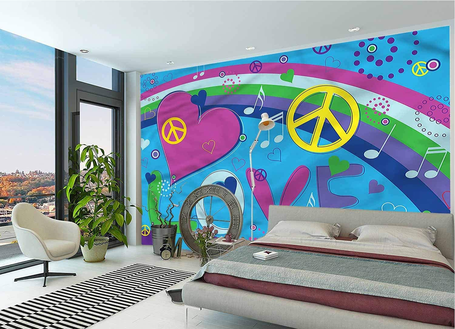 LCGGDB Groovy Wall Mural Decal,Love Heart Musical Notes Removable Large Wall Mural for Livingroom Bedroom Nursery School Family Wall Decals-144x100 Inch