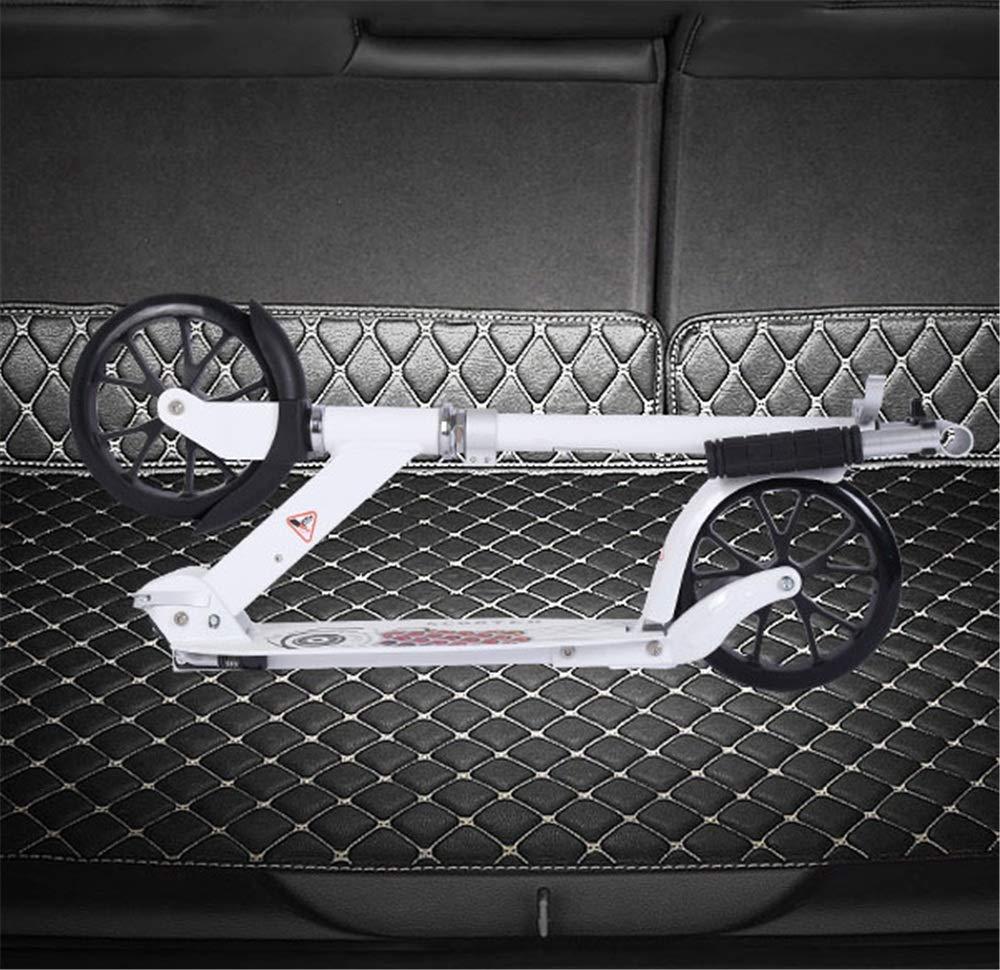 キックスクーター ペダルスクーター大人成人2輪アルミ合金2輪折りたたみハンドブレーキ2輪都市スクーター 持ち運びが簡単 (色 : 白) B07Q9J2NZQ  白
