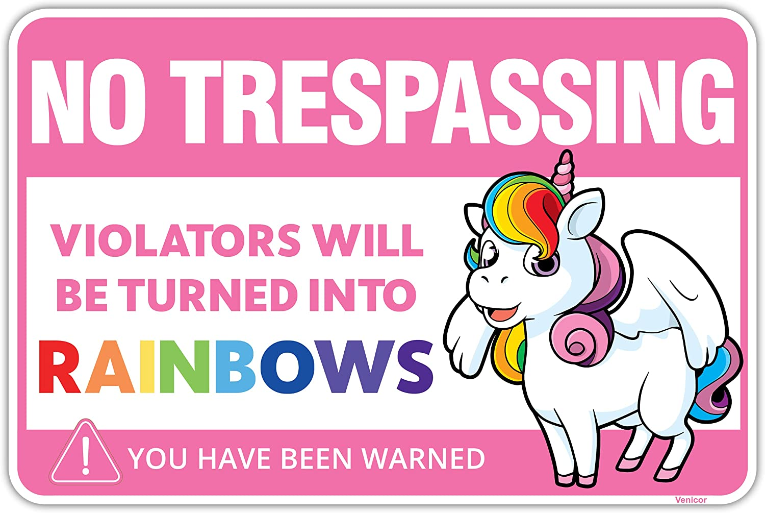 Venicor Unicorn Sign - 8x12 Inches - Aluminum - Unicorn Pictures Wall Decor Bedroom Accessories - Unicorn Poster for Girls Room - Unicorn Teen Girl Lover Gifts Rainbow Wallpaper Stickers Theme Stuff