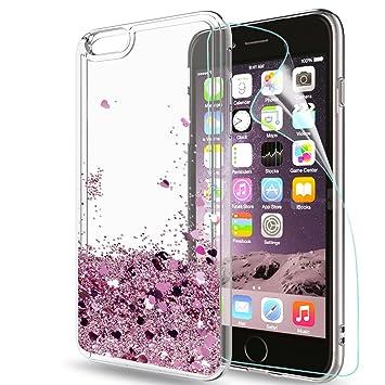 5be252010cc LeYi Funda Apple Iphone 6 / 6S Silicona Purpurina Carcasa con HD  Protectores de Pantalla,