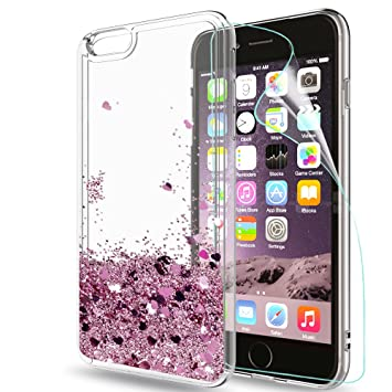 LeYi Funda Apple Iphone 6 / 6S Silicona Purpurina Carcasa con HD Protectores de Pantalla,Transparente Cristal Bumper Telefono Gel TPU Fundas Case ...