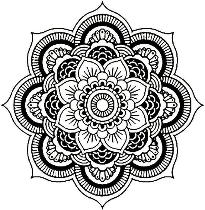Mimihuhu 6005 Mandala Motif Autocollant Mural 42 42cm Sticker Art Stickers Murale Maison Vinyle Famille Noir