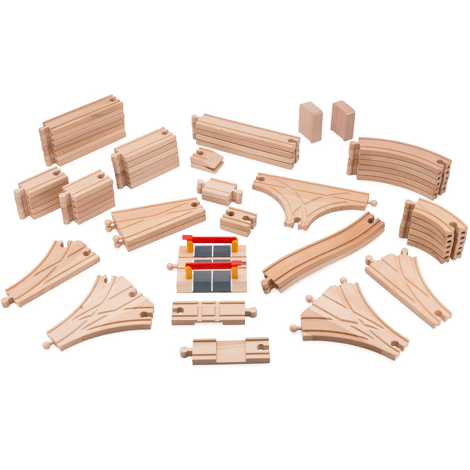 Playbees Wooden Train Track Set 59 Pcs, Wooden Railroad Pieces Compatible w/ Most Name Brand Wood Railway Systems, Perfect for Preschool Toddler Boys and Girls