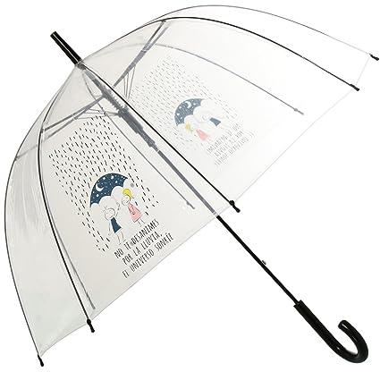DonRegaloWeb - Paraguas mensaje positivo transparente No te desanimes por la lluvia 85x84cm