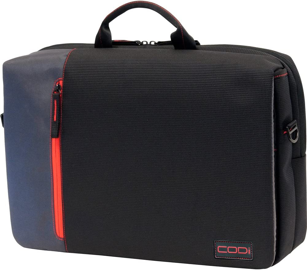 CODi Ultra Lite Hybrid Messenger for Laptops up to 15.6 Inches, Black with Red/Grey Accents (C2300)