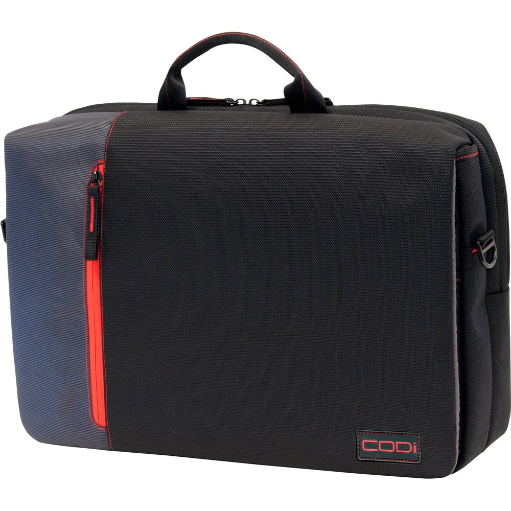 CODi Ultra Lite Hybrid Messenger for Laptops up to 15.6 Inches Black with Red Grey Accents C2300
