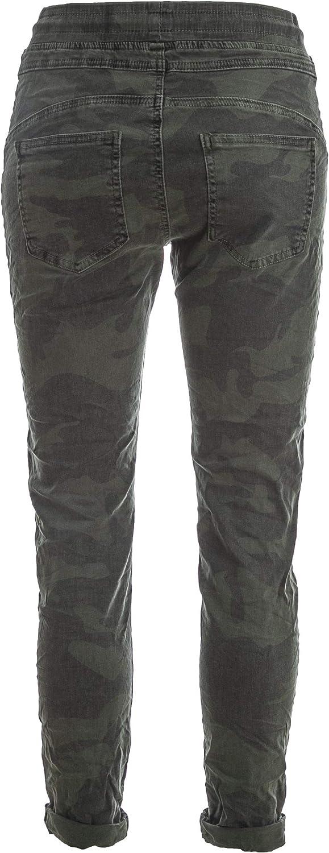 Basic.de Cotton 8181 Pantalon de jogging style carré, poche carrée, Melly & CO Camouflage Olive.