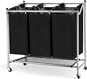 JEFEE Laundry Sorter Cart Laundry Sorter Divided Hamper with Heavy Duty Rolling Wheels, Heavy Duty 3 Bags Waterproof Laundry Sorter Cart for Clothes Storage, Black