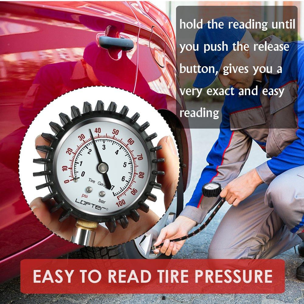 LOFTER Tire Pressure Gauge, Heavy Duty Dial Air Pressure Gauges 100PSI, 2 Units(PSI/BAR), High Accuracy Air Pressure Check, Premium No-leak Braided Air Hose, Best Bike, Cars, SUV, ATV, Motorcycle by LOFTER (Image #3)