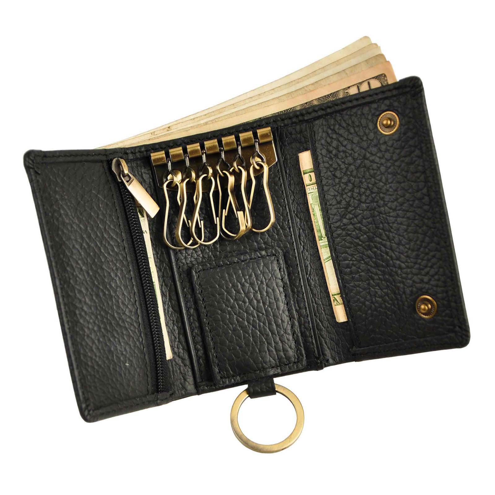 Le'aokuu Mens Genuine Leather Car Key Case Loop Hook Coin Case Cover Wallet Snap (The Black 2)
