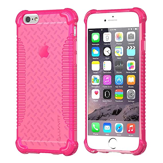 new style 42b1c 6cc87 iPhone 6s Case, LUVVITT [Clear Grip] Soft Slim Flexible TPU Back Cover  Transparent Rubber Case for Apple iPhone 6/iPhone 6s (4.7 inch) - Neon Pink