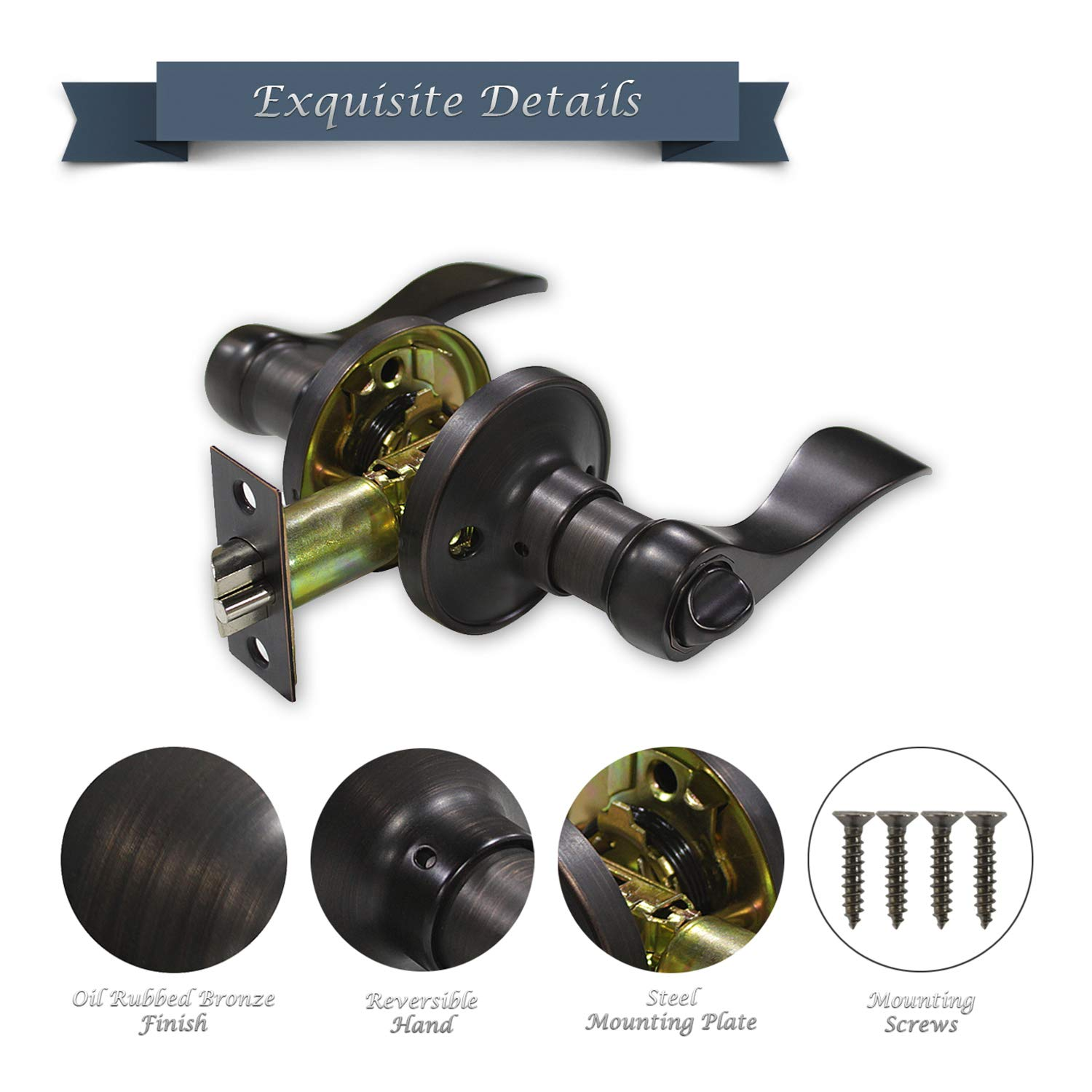 Keyed Entry Door Lever Handle with Reversible Left or Right Handle, Oil Rubbed Bronze Finish, Vintage Design (Keyed Alike) by Home Hardware Supply (Image #5)