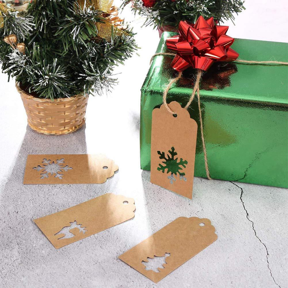 marr/ón alces y /árboles de Navidad con 30 M de cordeler/ía para manualidades Navidad y festivos Etiquetas de regalo de Navidad SAIYU 150 piezas Etiquetas de regalo de Kraft Formas de copos de nieve