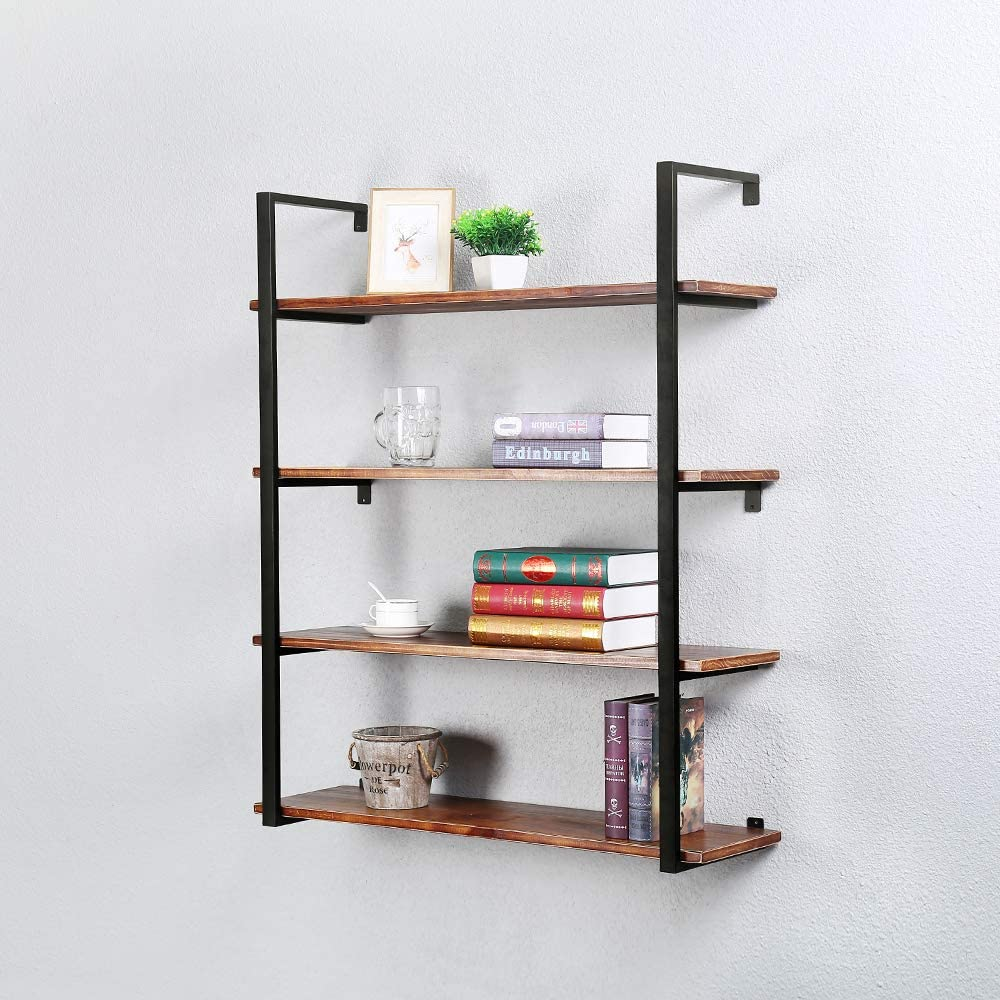 Rustic Metal and Wood Wall Shelf Unit 4 Tier,36in Industrial Shelving Iron Wall Shelves,Farmhouse Floating Bookshelf Wall Mounted,Floating Real Wood Book Shelves for Bedrooms Office(Black)