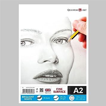 Bloc de dibujo A2, 160 g/m², papel de artista de color blanco, 30 ...