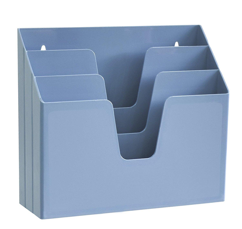 Acrimet Horizontal Triple File Folder Organizer (Solid Blue Color) 860.AO