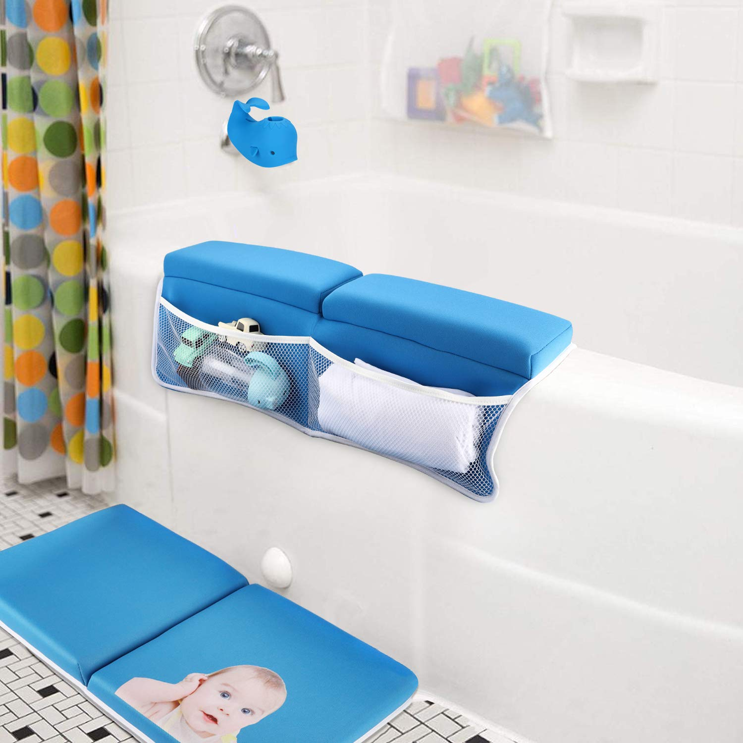 Bath Kneeler with Elbow Rest Pad Set with Bath-tub Spout Cover, Hoohome Baby Bath Set,X-Long, Thick, Knee Cushioned Bathtub Support, Non-Slip Bottom, 4 Caddy Pockets Support by Hoohome