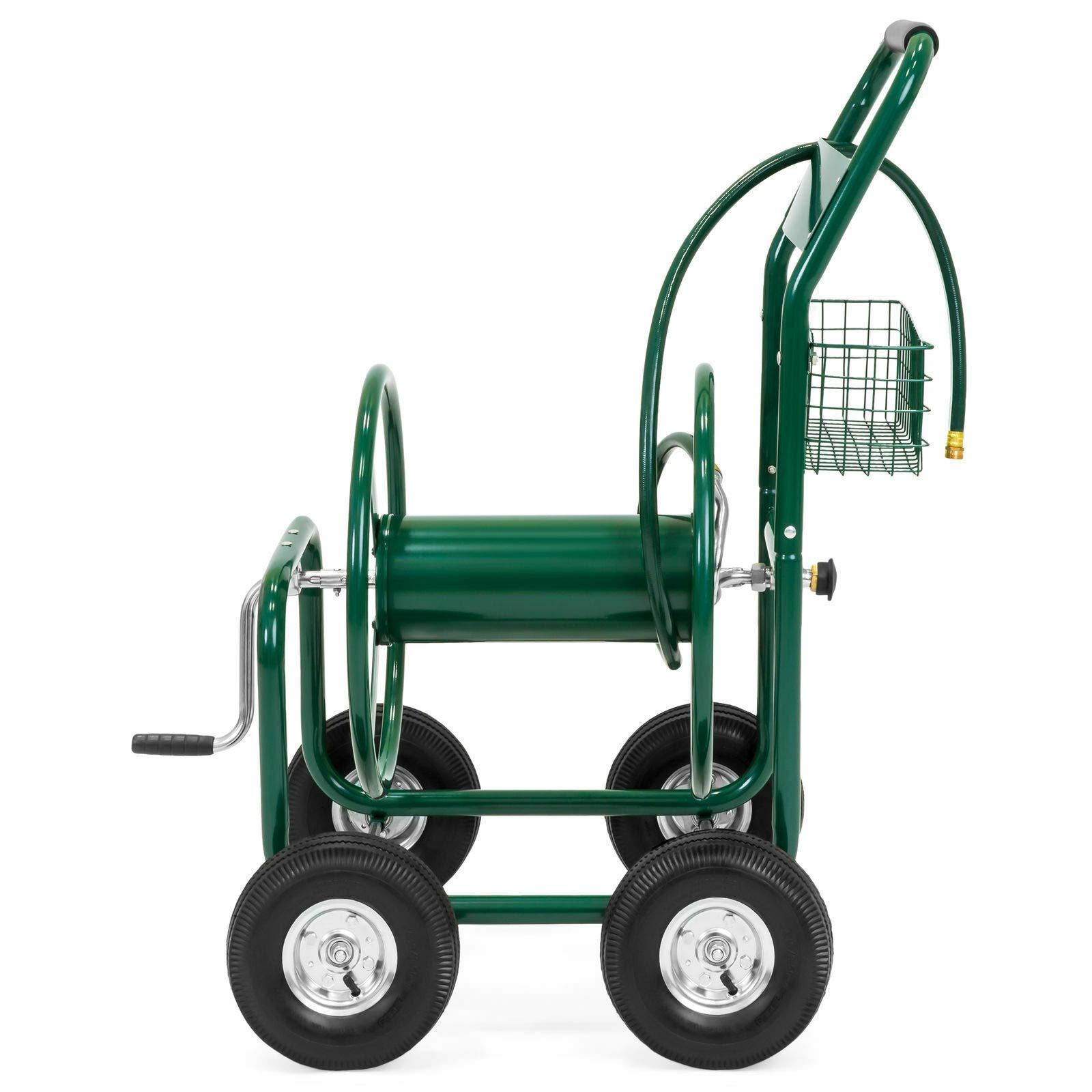Kampoojoo - Green 300ft Heavy Duty Green Steel Water Hose Reel Portable Cart w/Basket 4 Wheels