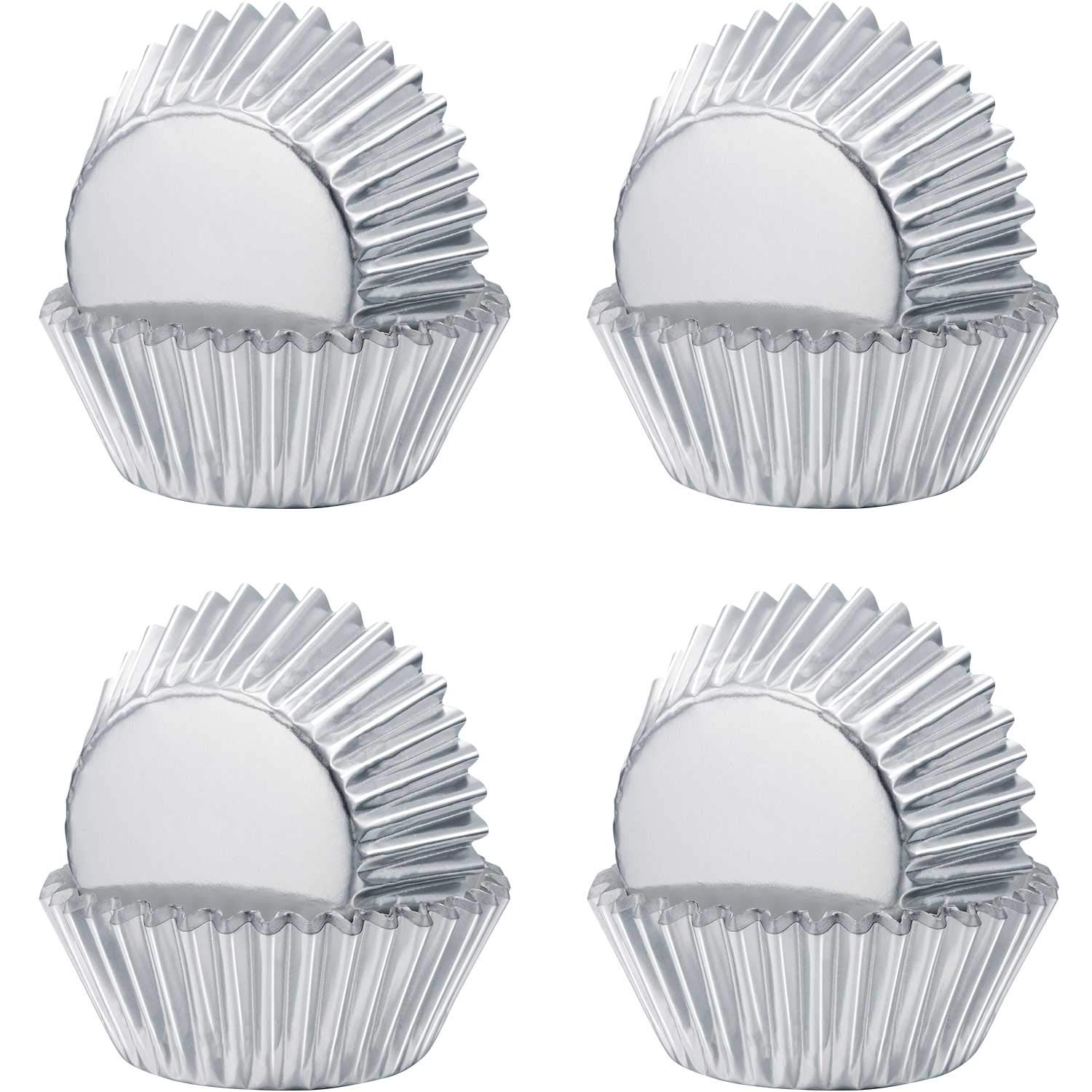 Sumind Foil Metallic Cupcake Case Liners Muffin Paper Baking Cups (Sliver, 400)