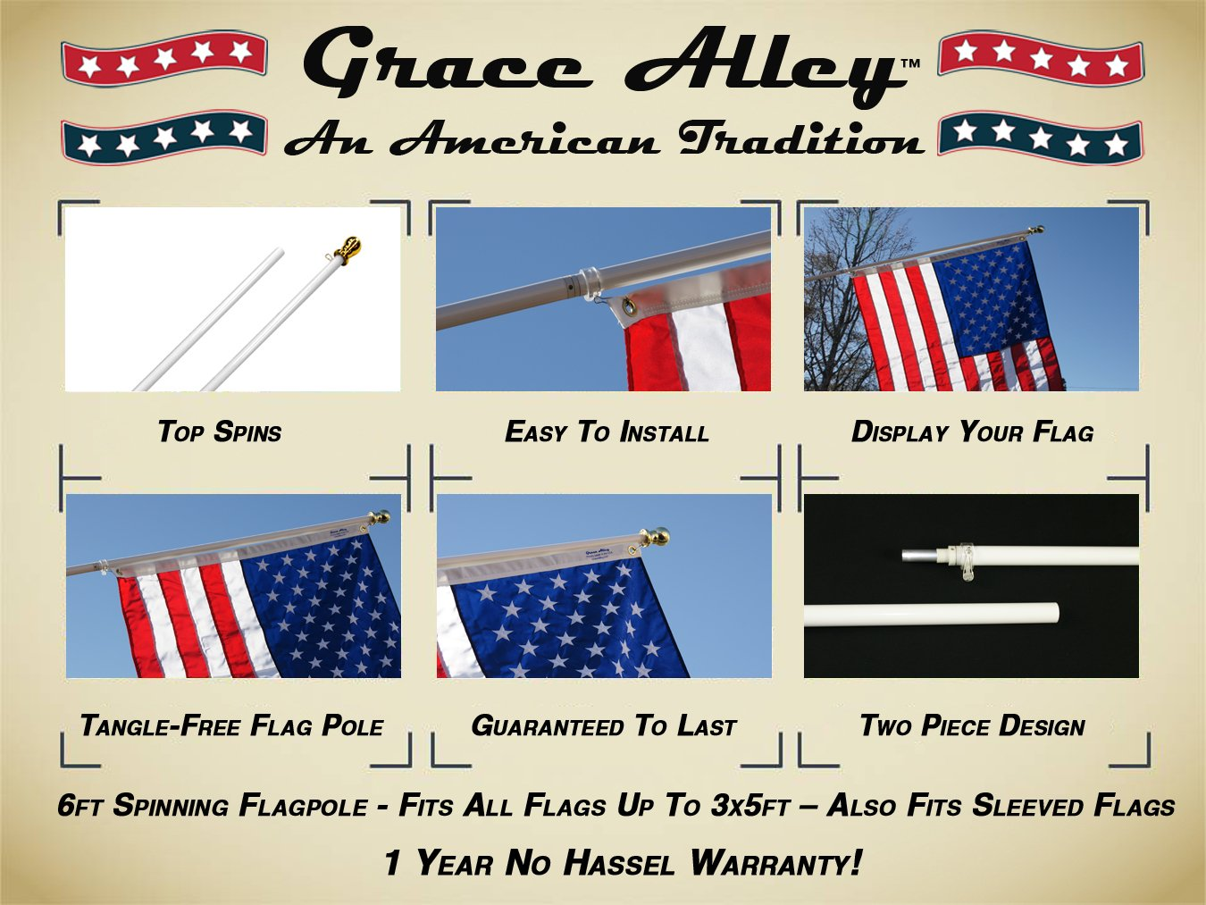Flag Pole: Tangle Free Spinning Flagpole Residential or Commercial 6ft Flag Pole (White) by Grace Alley (Image #4)