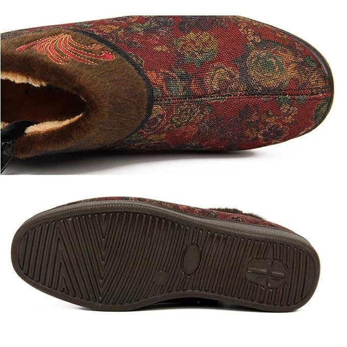 QPYC Baumwollschuhe Damenschuhe Rundkopf Hoch Hilfe Verdickung Mittleren Alters Flachboden Rutschfeste Mutter Schuhe Plus Samt Warm Halten Marke Oma Schuhe , dark brown , 38